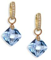 Jude Frances Classic Sky Blue Topaz, Diamond & 18K Yellow Gold Cushion Earring Charms