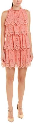 Rebecca Taylor Ruffled Pinwheel Silk-Blend A-Line Dress