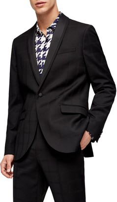 Topman Check Skinny Tux Jacket