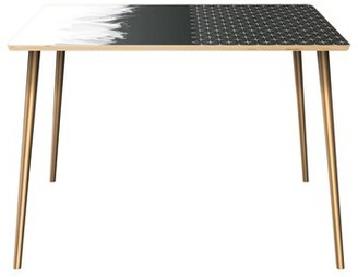 George Oliver Penwell Dining Table Table Top Color: Natural, Table Base Color: Brass