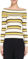 Whistles Rib Knit Striped Bardot Top