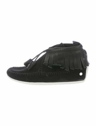 Rag & Bone Suede Tassel Accents Lace-Up Boots Black