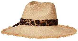Lauren Ralph Lauren Fray Edge Sun Hat with Fabric B (Leopard) Caps