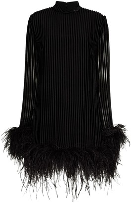 Taller Marmo Gina feather trim mini dress