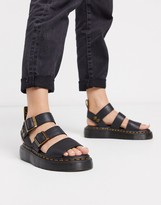 Dr. Martens Gryphon leather chunky sandals with gold hardware in black