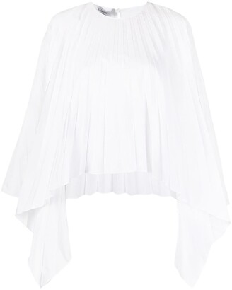 Valentino Pleated Bell-Sleeves Top