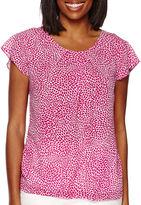 Liz Claiborne Short-Sleeve Floral Blouse - Tall