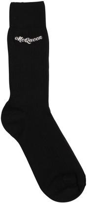 Alexander McQueen Logo Intarsia Cotton Socks