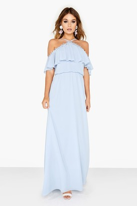 Girls On Film Bardot Halter Frill Maxi