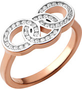Links of London Signature 18ct rose gold and sapphire stud ring