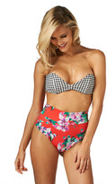Montce Swim - Gingham Bellini Top X Red Floral High Rise Bottom Bikini Set