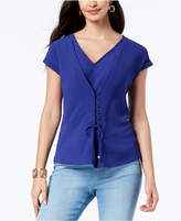 Thalia Sodi Grommet Lace-Front Top, Created for Macy's
