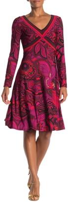 Trina Turk Linda V-neck Long Sleeve Printed Dress