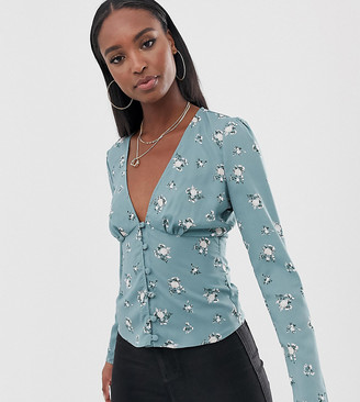 Fashion Union Tall button front blouse in ditsy floral
