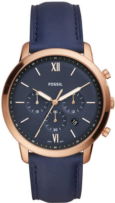 Fossil Men Neutra Chronograph Navy Leather Strap Watch 44mm