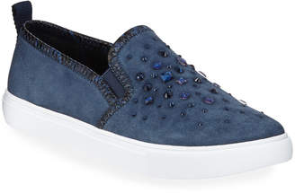 Donald J Pliner Sanya Beaded Suede Slip-On Sneakers