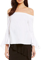 Soprano Poplin Off-The-Shoulder Bell-Sleeve Top