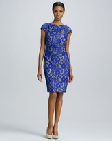 Kay Unger New York Cap-Sleeve Lace Dress
