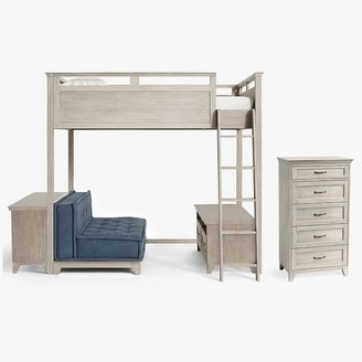 Pottery Barn Teen Hampton Loft Bed with Cushy Loveseat, Media & Bookcase Set & 5-Drawer Tall Dresser Set