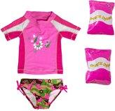 Jump N Splash Toddler Girls' Butterfly TwoPiece Short Sleeve Rashguard Set w/ Free Floaties (2T-3T) - 8143063
