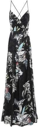 Black Halo Eve By Laurel Berman Wrap-effect Floral-print Fil Coupe Gown
