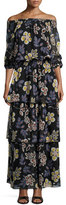 Tory Burch Indie Floral-Print Ruffle Smocked Dress, Black