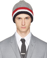 Thom Browne Grey and Tricolor Merino Aran Cable Beanie