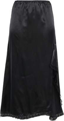 Miu Miu Lace-trimmed Satin-twill Midi Skirt