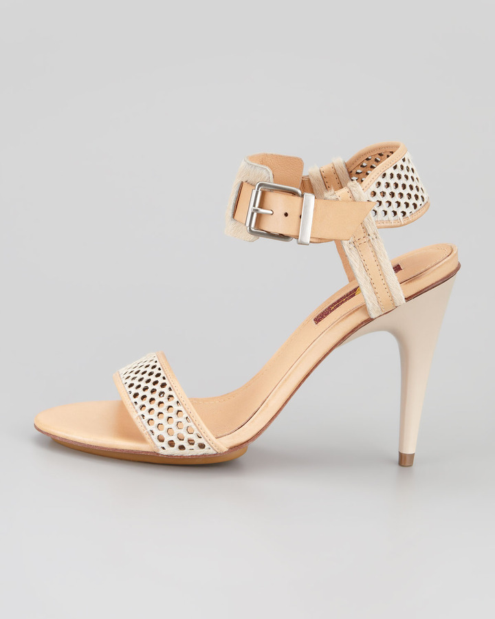 7 For All Mankind Danette Perforated Calf Hair Sandal, Nude