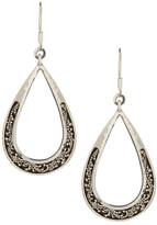 Lois Hill Sterling Silver Large Open Teardrop Granulated Earrings