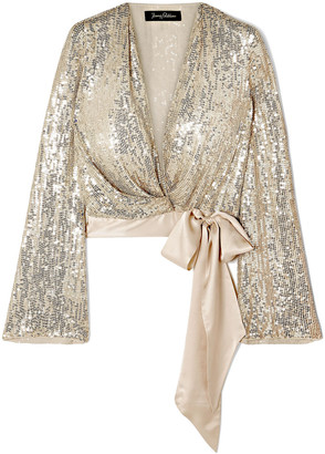 Jenny Packham Satin-trimmed Sequined Silk-chiffon Wrap Top