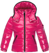 Moncler Bady Contrast-Trim Quilted Down Coat, Fuchsia, Size 8-14