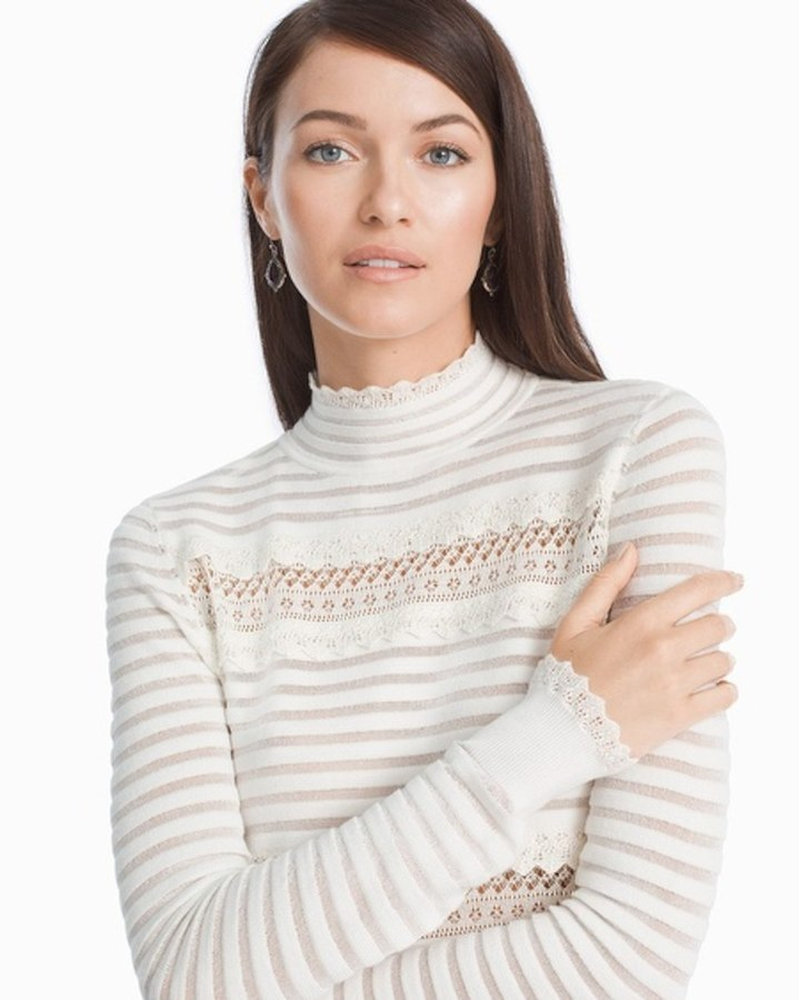 White House Black Market Sheer Ruffle Turtleneck