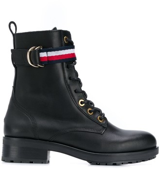 Tommy Hilfiger lace-up biker boots