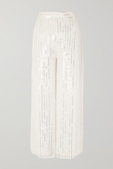 Temperley London Neri Sequin-embellished Crepe Wide-leg Pants - Ivory