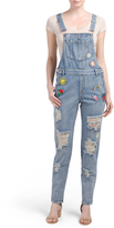 Juniors Denim Overalls With Patches