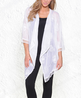 Paparazzi White Embroidered Chiffon Three-Quarter Sleeve Cardigan