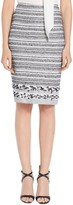 St. John Variegated Stripe Tweed Knit Pencil Skirt