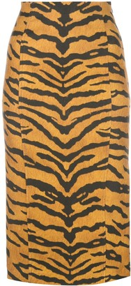 Adam Lippes Tiger Print Pencil Skirt