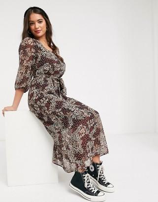 New Look chiffon tie waist midi dress in mixed floral print