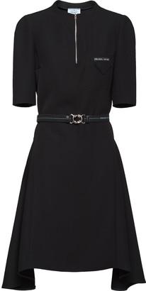 Prada Logo-Patch Belted Mini Dress