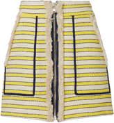 Veronica Beard Lynden Fringed Striped Mini Skirt