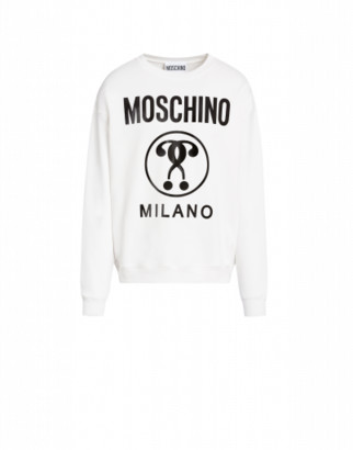 Moschino Cotton Sweatshirt With Double Question Mark Print Man White Size 50 It - (40 Us)