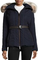 Gorski Quilted Jacket with Fox Fur Collar, Navy