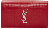 Saint Laurent Red Croc-Embossed Monogram Kate Clutch