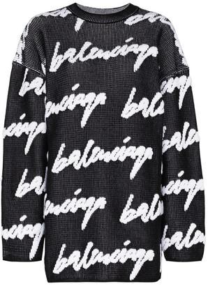 Balenciaga Allover Logo Crewneck Sweater