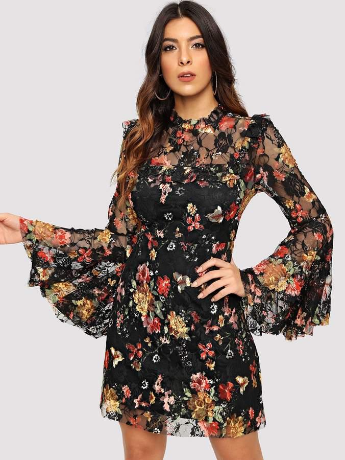 58dd4b66962f62 Shein Floral Lace Dresses - ShopStyle