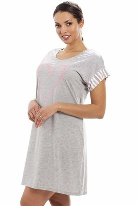 Camille Womens Ladies Short Sleeve Plain Nightshirt with Fluorescent Heart Motif 8-18 12/14 Grey