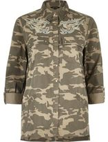 River Island Womens Brown camo embroidered shacket