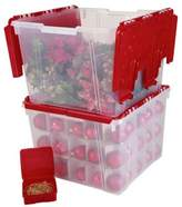 Iris USA IRIS® Wing Lid Storage Box with Ornament Divider in Red